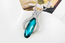 ROXI Christmas Gift Fashion Jewelry Platinum Plated Statement Luxury Green Stone Necklace For Women Party Wedding