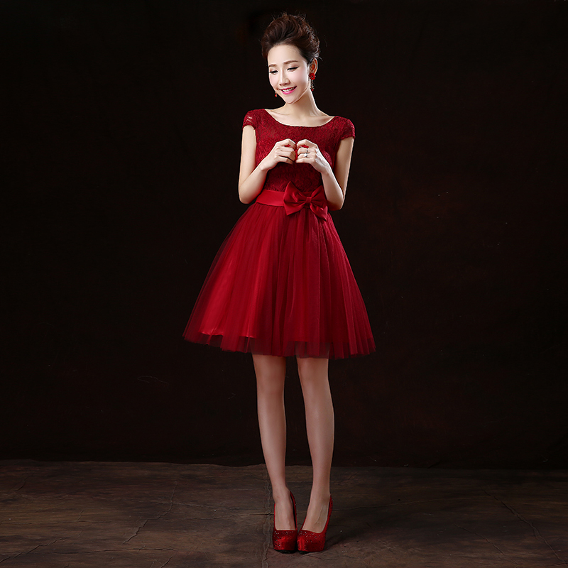 Dark red lace bridesmaid dress images for Dark red wedding dress