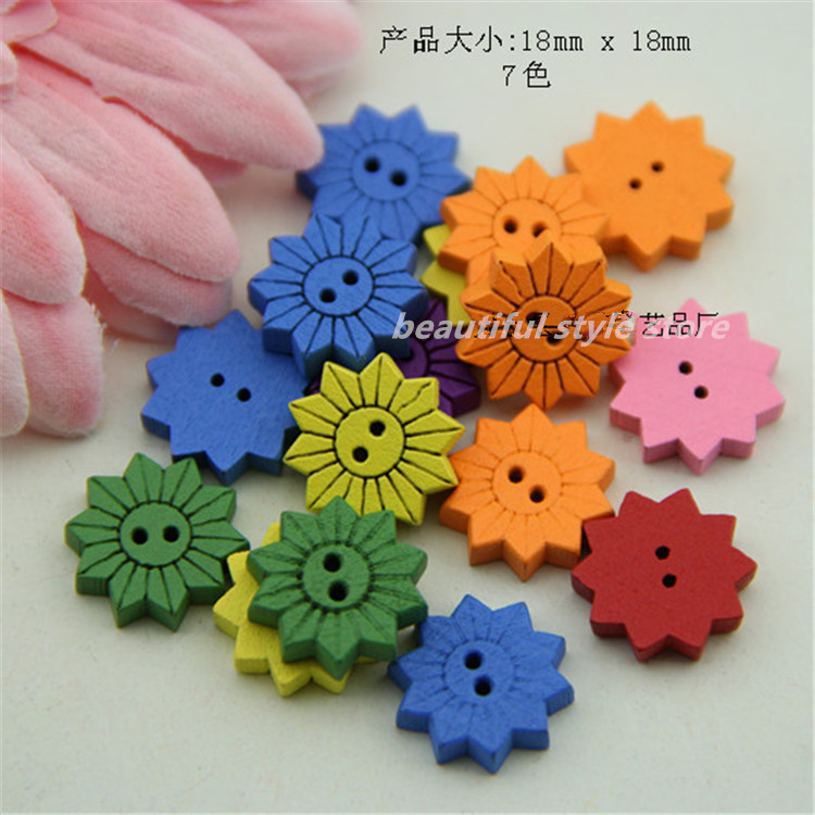 fashion Sunflower Shape Eco-Friendly Assorted Colors Wooden Craft Sewing wooden Buttons Jewelry Findings DIY mixed 18x18x3.5mm(China (Mainland))
