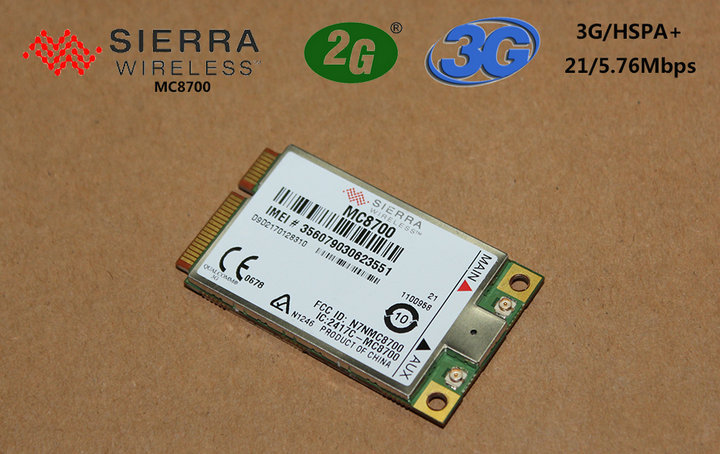 Full-range unlock network applications Sierra Wireless MC8700 PCI EXPRESS MINI CARD HSPA+ 21Mbps 2/3G GPS CARD module wholesale(China (Mainland))