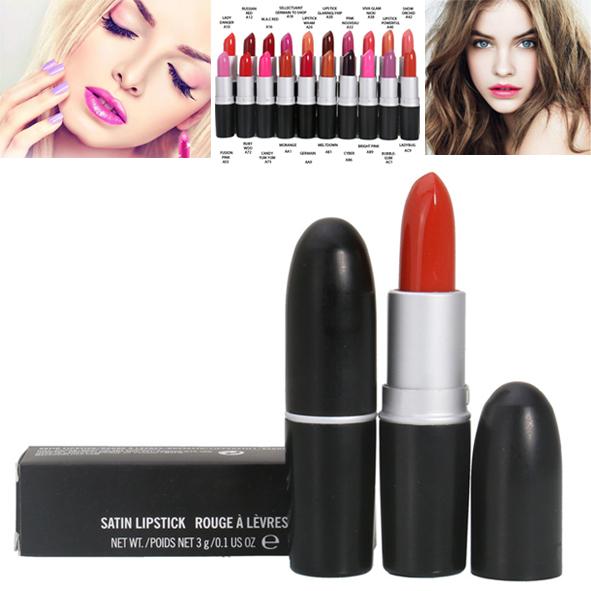 1PCS waterproof lipstick 3g! Satin lipstick rouge a levre gloss nude makeup long lasting super-resolution free shipping(China (Mainland))