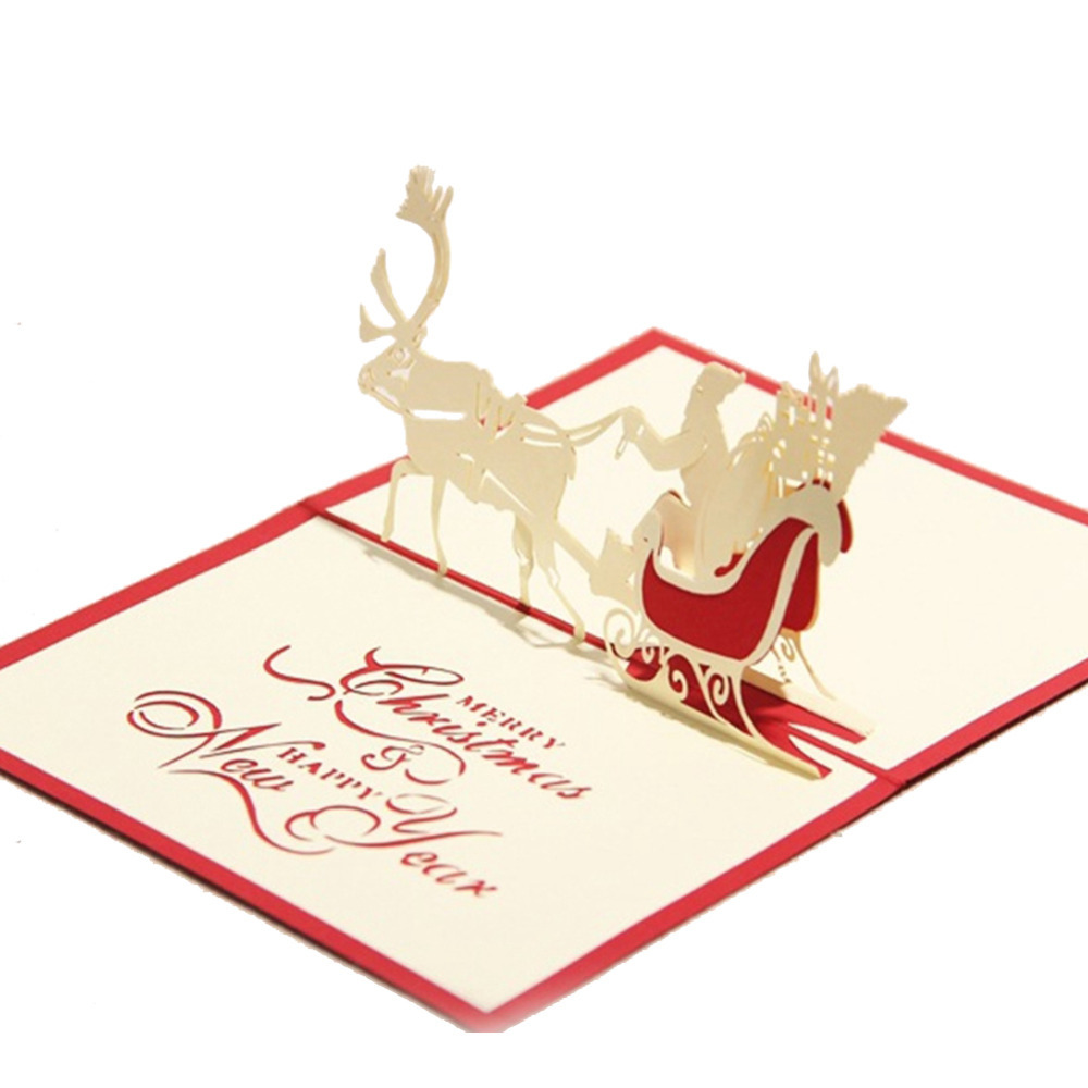 Creative Kirigami & Origami 3D Pop UP Greeting & Gift Christmas Cards with Santa Claus & Carriage Free Shipping (set of 10)(China (Mainland))