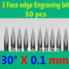 Free Shipping 10pcs 3.175mm Dia 30 Angle 0.1mm Tip 3 Edge Carbide Woodworking Tools Engraving Bits for CNC Router Machine(China (Mainland))