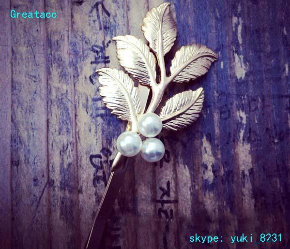 10PCs 2015 New Arrival Hot Fresh Greek Style Retro Golden Foliage Forest Leaf Hair Clip Chic Bobby Pin Stylish Headwear TS30(China (Mainland))