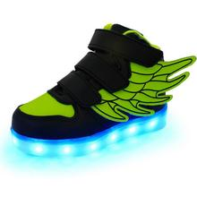 2016 The New style boy girls with wings USB Charging children's shoes Colorful lights LED luminous male kids sneakers