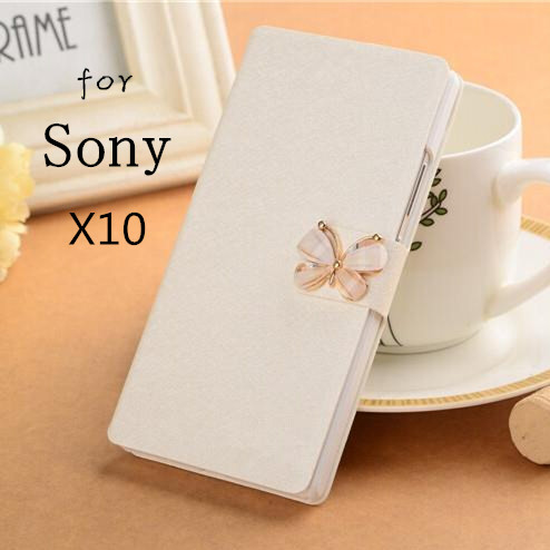 Flip PU Leather Cover For Sony Ericsson Xperia X10 Phone Case With Three Kinds of diamond buckle and Card Slot&Stand Function(China (Mainland))