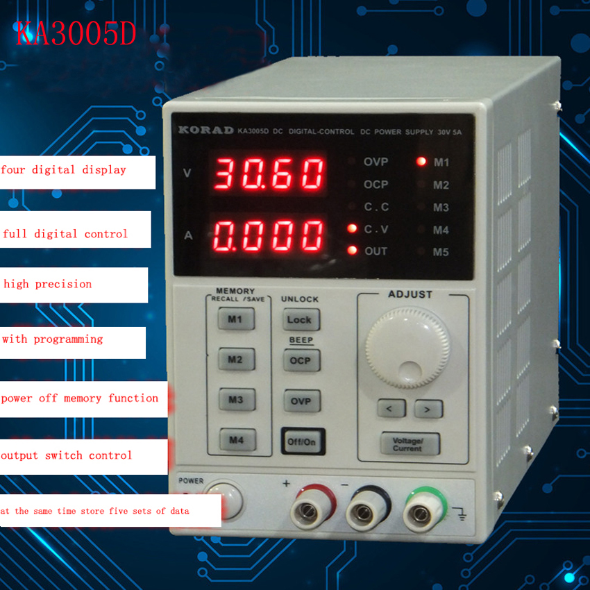Freeship DHL KA3005D high precision Adjustable Digital DC Power Supply mA 0~30V 0~5A for scientific research service Laboratory(China (Mainland))