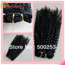 "Sunnymay new arrival natural black 10-26"" kinky curl virgin brazilian human hair extensions hair weft clips(China (Mainland))"