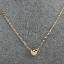 2015 New Simple Women Personalized Plated Love Hearts Charm Pendants Necklace Beads Oval Chain Fashion Jewelry(China (Mainland))