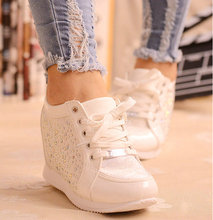 Black White Free Shipping Hidden Wedge Heels Fashion Women's Elevator Shoes Casual Shoes For Women wedge heel Rhinestone 2016