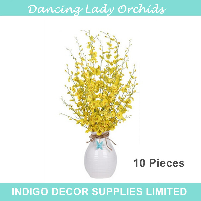 10pcs/Lot Yellow Little Dancing-lady Orchids Decorative Flower Silk Orchids Artificial Flowers Wedding Party Free Shipping(China (Mainland))