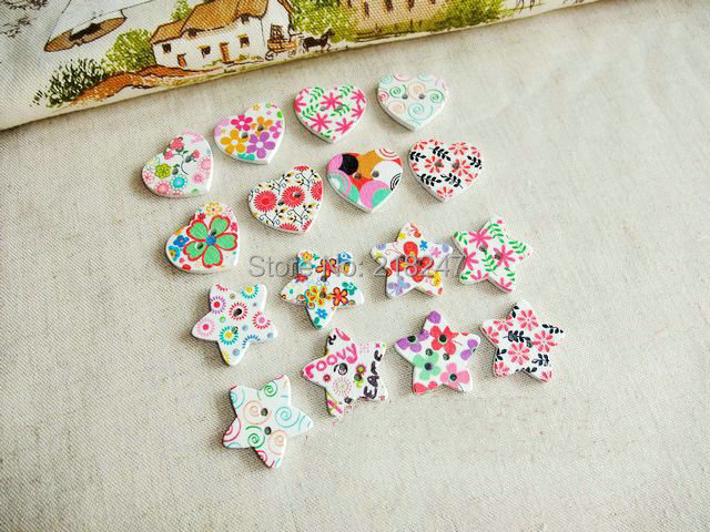 White ground Painting Printing wood button Heart and Star 25MM buttons DIY handmade accessories 100Pcs(China (Mainland))