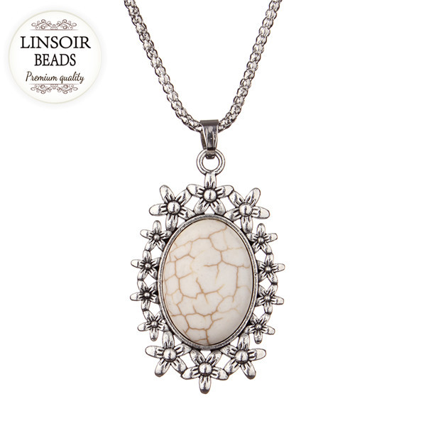 Creame Turquoise flower necklaces fashion Vintage Choker Chain Pendant Jewelry F2549D(China (Mainland))