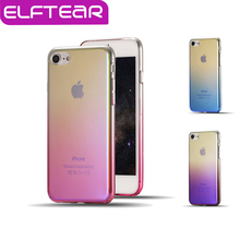 ELFTEAR Gradient Color Transparent Case For iPhone 6 6S Plus For iPhone 7 7 Plus Ultra Slim Aurora Hard PC Phone Back Cover(China (Mainland))
