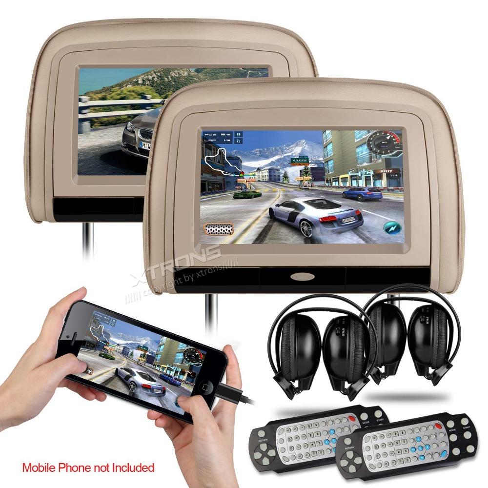 "XTRONS Beige 2x9"" Digital Screen Car Monitor Headrest DVD Player with 2 IR Headphones 8 Bits & 32 Bits Games(China (Mainland))"