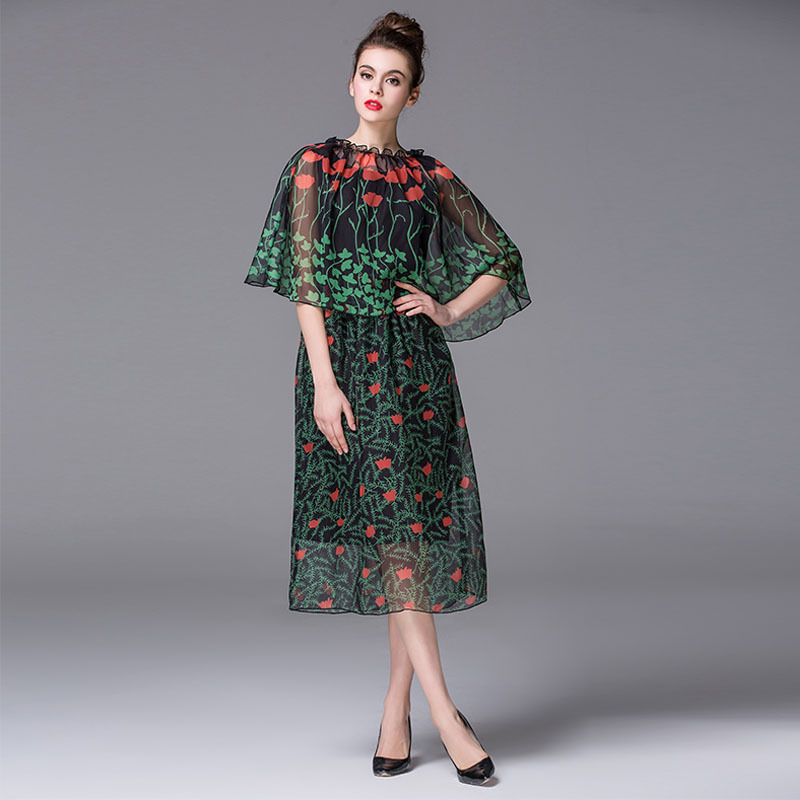 According to the new spring and 2016 sub dress elegant floral shawls dyeing two piece sleeveless dress.