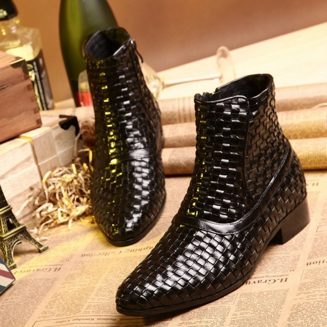 2015 Plus Size 38-44 Handmade Genuine Leather Summer Style Boots Cowhide Men Boots Black Weave Ankle Fashion Boots for Men