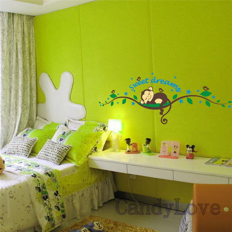 Style Cartoon Monkey Tree Wall Sticker Room Decoration Bedroom Decor