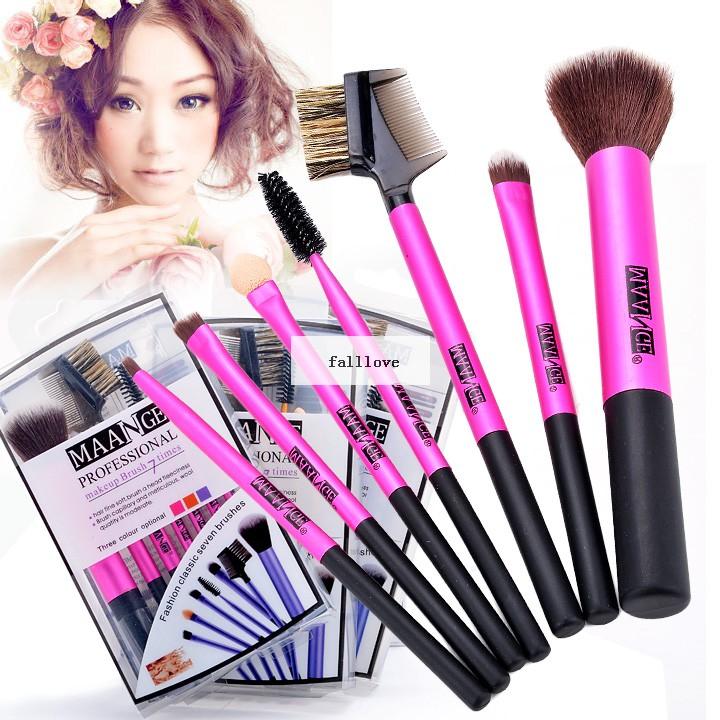 2014 Hot selling 7pc Makeup Brushes Kit Eyeshadow Mascara Blush Eyebrow Sponge Make Up Brush Tool 3 colors 38(China (Mainland))