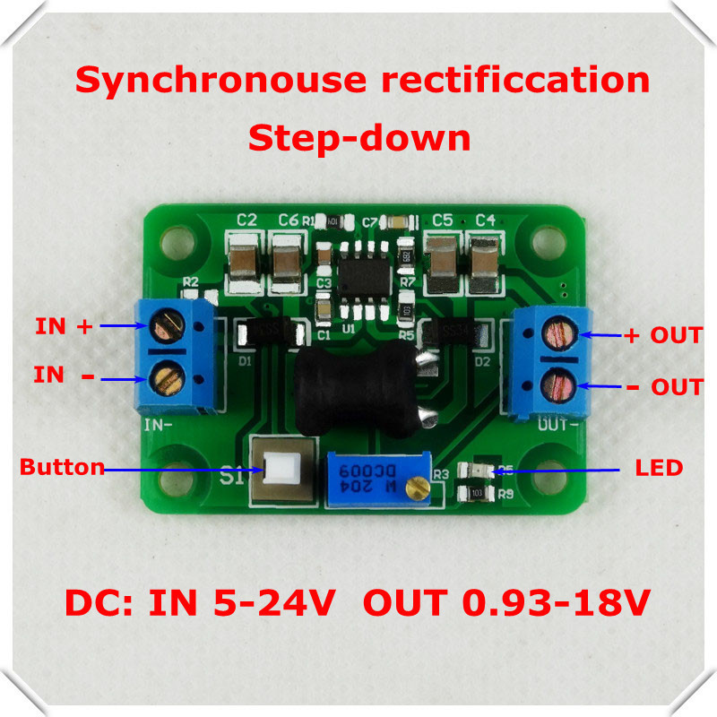 DC-DC Step-Down Synchronous rectification Adjustable Supply Power buck converter voltage LED indicator/ Button Switch10 pcs/lot](China (Mainland))