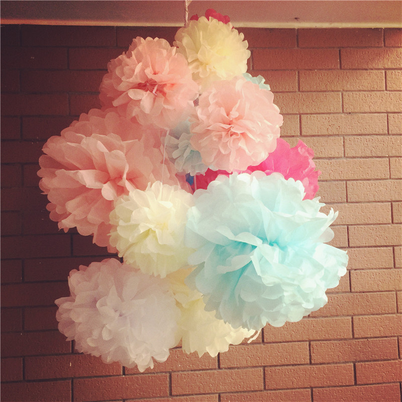 "Mixed 3 Sizes 30 Pcs(5"",8"",10"" ) Tissue Paper Pompoms Flower Balls Home Decor Festive & Party Supplies Wedding Favors(China (Mainland))"