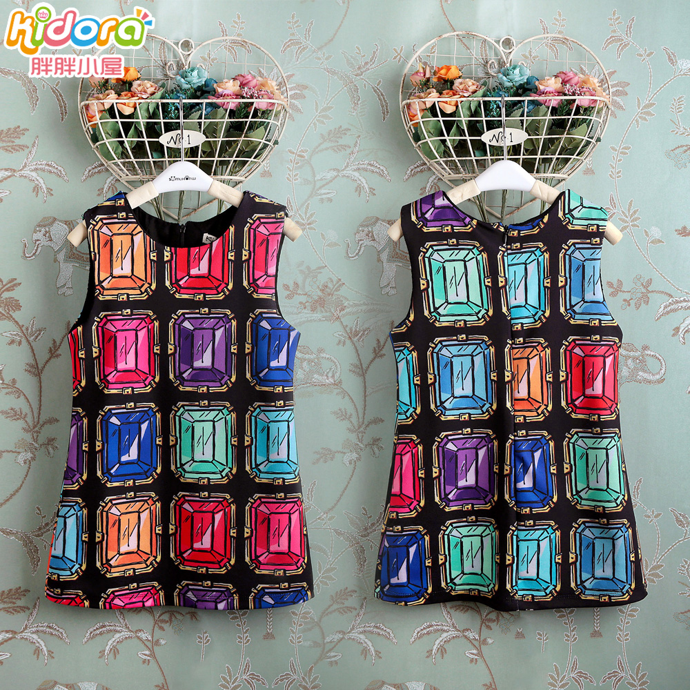 New Arrival 2016 fashion girls summer dress baby princess dress girl colorful gem print sleeveless sundress PP-Z91(China (Mainland))