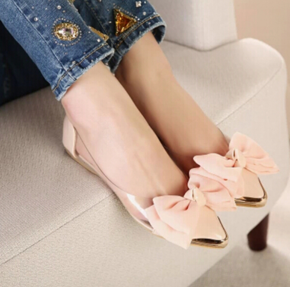 2015 spring summer sweet women flats pointed sequined toe with big bowtie shoes women casual shoes sapato feminino free shipping<br><br>Aliexpress
