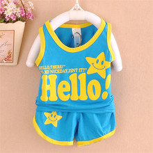 2016 Newborn Baby Clothing Sets Boy girl Cotton Vest Shorts 2pcs Kids Clothes Sets Cartoon Suit