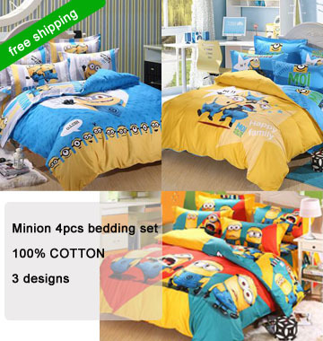 New hot 3d minion bed 3 4pcs cartoon bedding sets twin full queen size adults kids duvet cover for Full size bedroom sets for adults