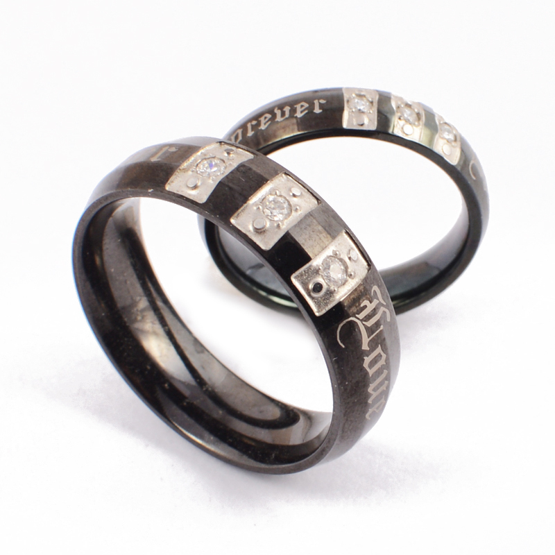black stainless steel rings wedding band