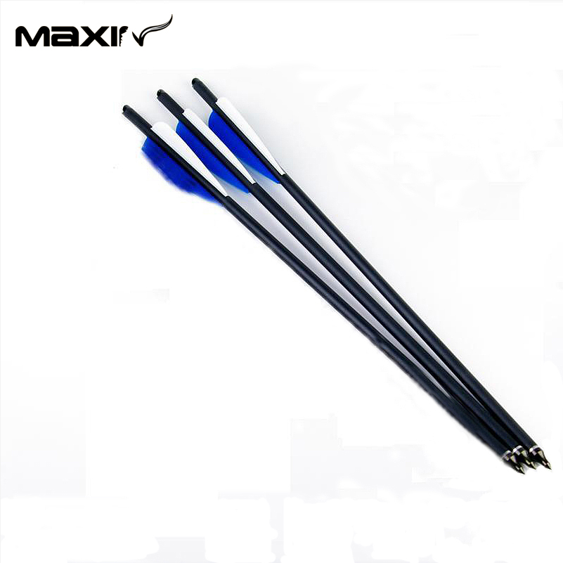 8 8mm Arrows Carbon For Compound Bow 20 Spine 400 with Blue Turkey Feather 3pcs lot