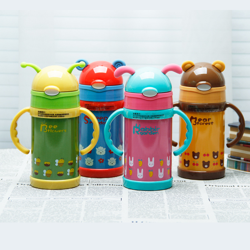 Popular 250ml Stainless Steel Vacuum Flask Cute Deer Termo Cup Thermo Bottle Drikingware Water Bottle Travel Mug Drinking Bottle(China (Mainland))