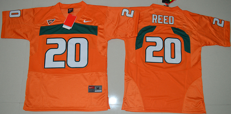 New Arrival High Quality Nike Miami Hurricanes Ed Reed 20 College T-shirt Jersey - Orange Size S,M,L,XL(China (Mainland))