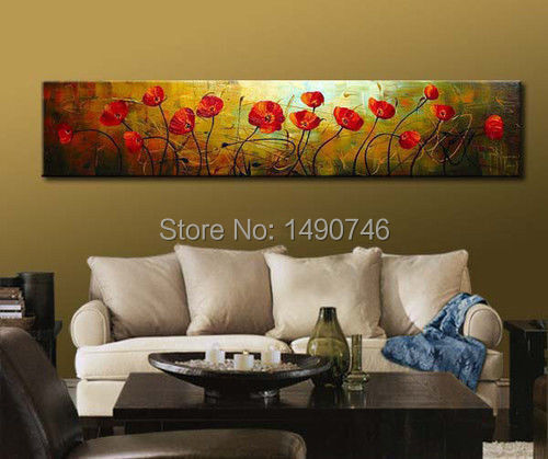 Framed!!! 100% Modern hand-painted Art Oil Painting flowers Wall Decor20X80inch+EMS SHIP(China (Mainland))