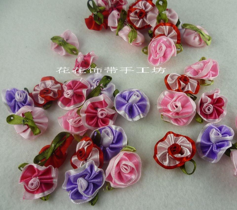 EMS shipping Christmas DIY crafts,DIY clothing accessories,2.5 cm ribbon flower,student DIY items,handmade DIY accessories