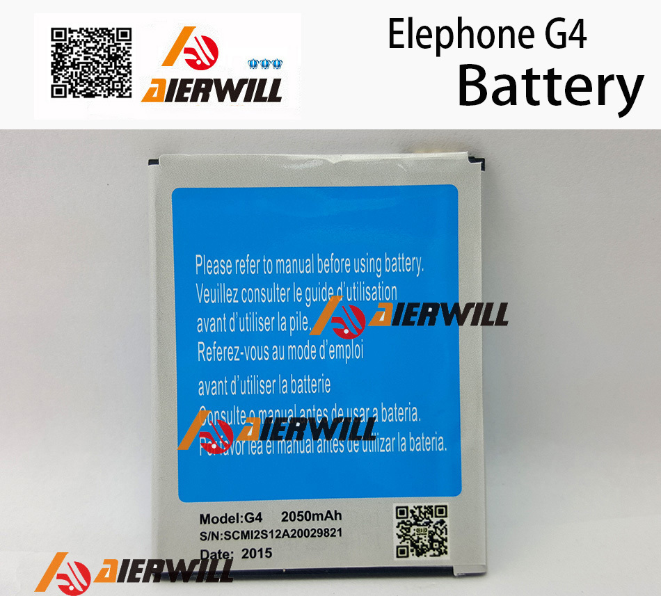 Elephone G4 battery 100% Original 2050mAH for MTK6582 Smart Mobile Cell Phone + Free Shipping + Tracking Number - In Stock