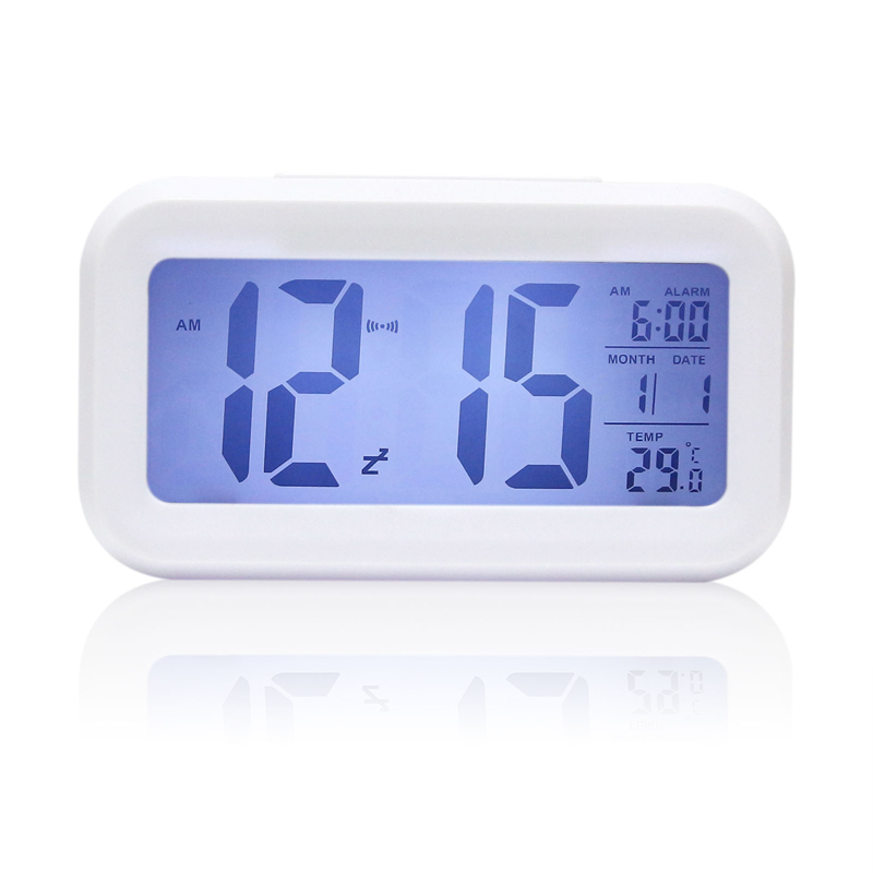 Modern style Digital Light Sensor Snooze LED Desk Alarm Clock Interior Decoration Clock Backlight Thermometer Timer Calendar(China (Mainland))