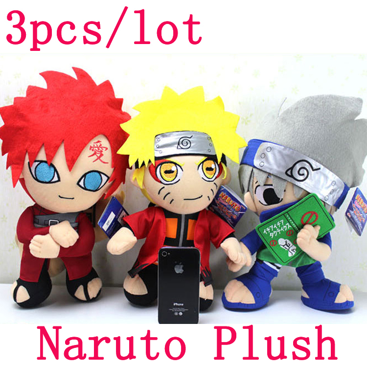 "3pcs/lot 12"" Naruto Plush Toys Uzumaki Naruto & Hatake Kakashi & Gaara Plush Dolls Stuffed Toys Doll Figure Toy for Kids Gift(China (Mainland))"