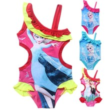 girl beach swimwear Cartoon Anna Elsa Snow Queen printing girls swimsuit kid/children swimming pool one piece Suit swimsuit