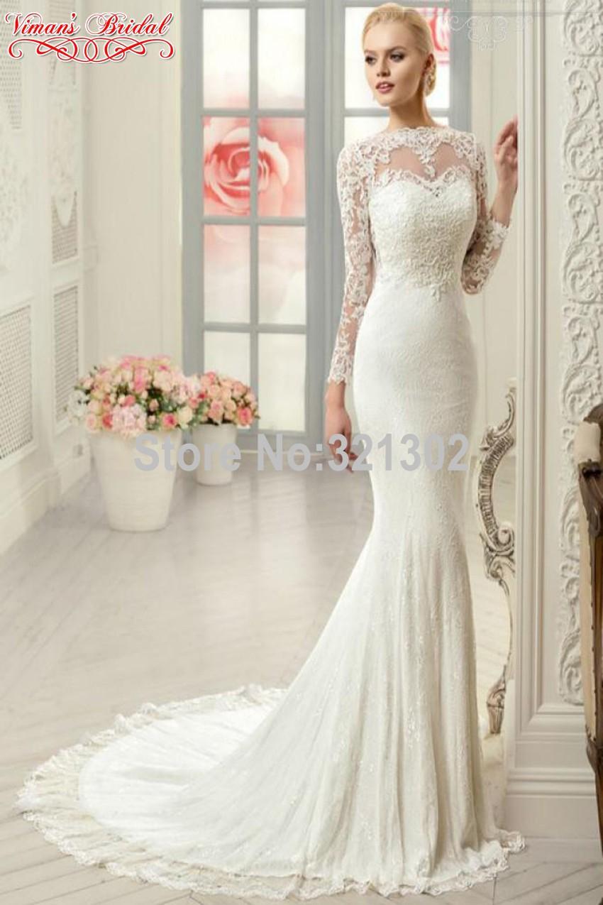 Style Elegant Wedding Gowns Boat Neck Full Sleeve Button Brush Train Floor Length Mermaid Gowns