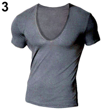 Buy Sexy V-Neck Short Sleeve Solid Color Men Slim Fit Workout T-shirt Tee Top for $4.94 in AliExpress store