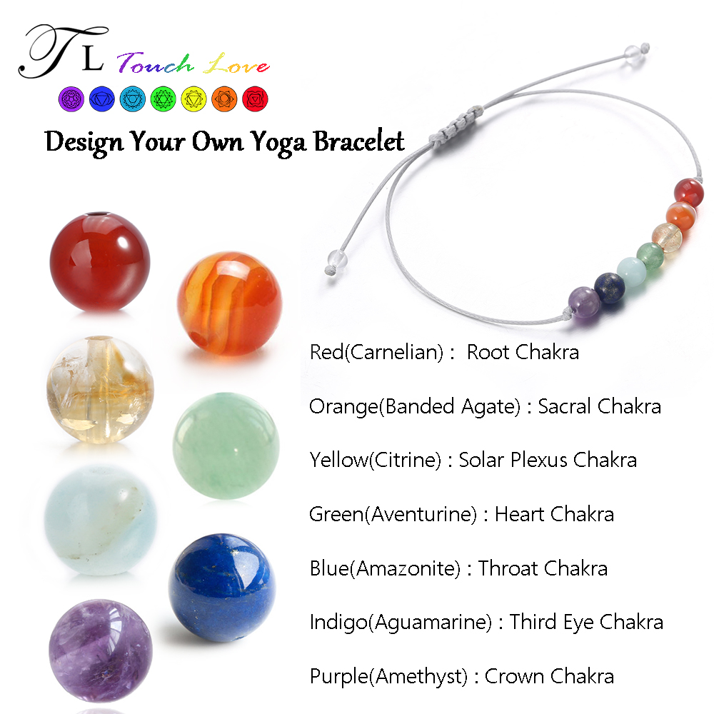 TL Mix Color 7 Chakra Bracelet High Quality Natural Stone Energy Yoga Bracelet 6mm Crystal Healing Bracelet Customize For Friend(China (Mainland))
