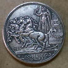 1914 Italy 5 Lire - Vittorio Emanuele III Silver Plated Coin(China (Mainland))