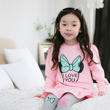 Lucky Store minnie baby girls clothing set long section t shirt letter leggings 2pcs set