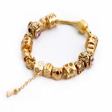 Summer Style European Gold Charm Chain Bracelets & Bangles Crystal Love Heart Bead Fit Pandora Bracelet For Women Jewelry SL1119(China (Mainland))