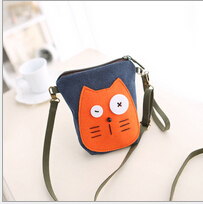 Fashion 2015 New Korean Phone Case Cute Cartoon Women Clutch Bag  Cell  Phone Bags Purse Mini Women Messenger Bags Free Shipping(China (Mainland))