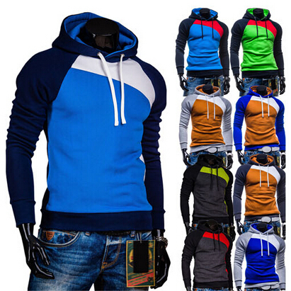 Leisure Men's Hoodies Patchwork colors Napping Fashion Men's Sweatshirts Hooded men coats 9 colors(China (Mainland))