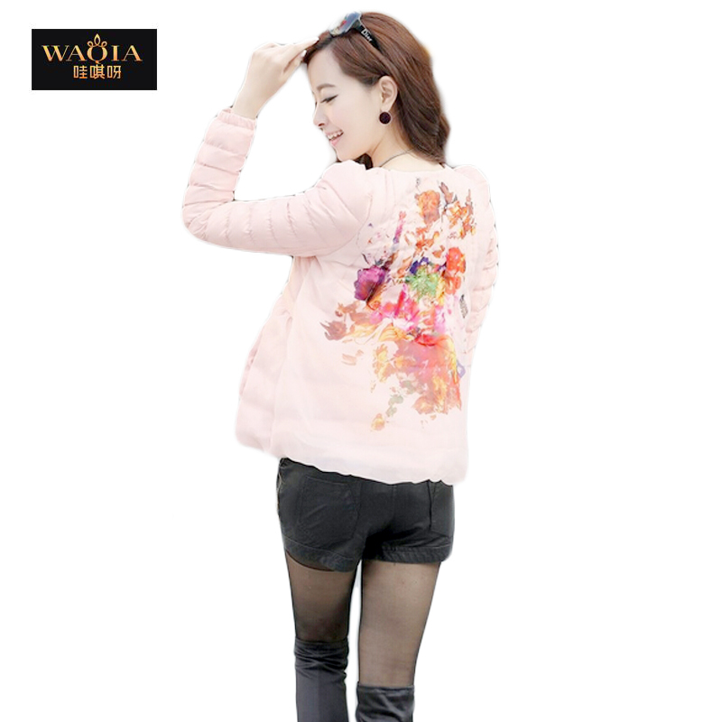 2015 new autumn and winter round rollar short style puff sleeve slim jacket eiderdown cotton coat for women(China (Mainland))