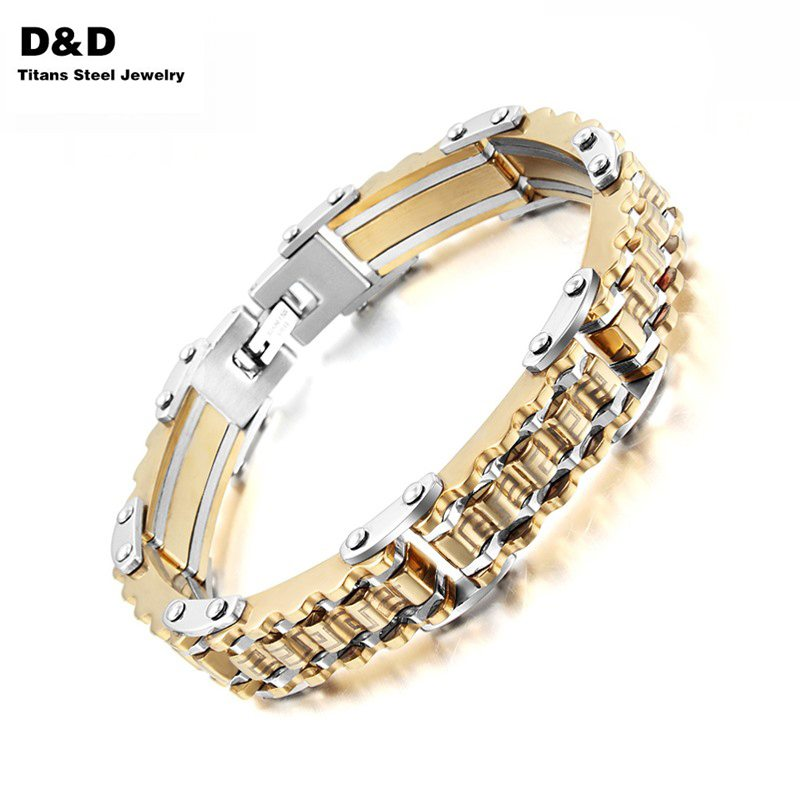 Top Quality Gold Plated Men Bracelet Bangle Shiny Stainless Steel Jewelry Cool Tough Trendy Style BR-109(China (Mainland))