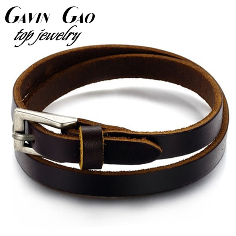 New 2015 Fashion OPK Brand Stainless Steel Buckle Double Layer Men Genuine Cow Leather Bracelets Bangles